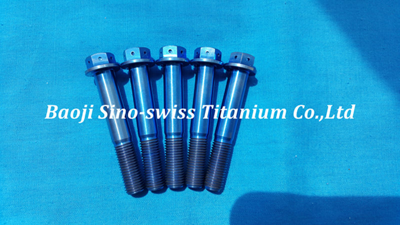 Blue titanium bolts