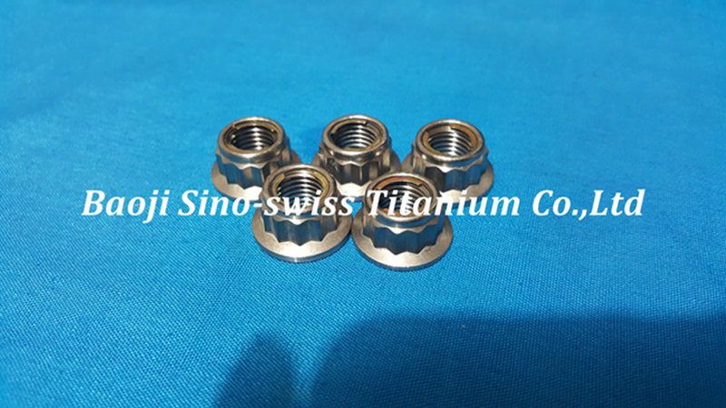 Titanium flange metal lock nut 12 Point Head pic 1